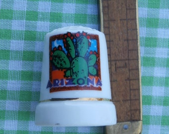 Vintage Arizona Souvenir Thimble Porcelain with Cactus on Front Collectible Use as Cake Topper or Craft Supply