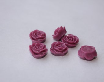 10 SMALL ROSE Cabochons - 12mm - Violet Color