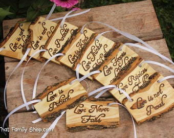 Love is Patient, Set of 10 | Cor.13: Rustic Wedding Aisle Decorations Bible Scripture Verses