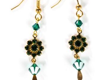 Hand made Emerald Green swarovski crystal earrings