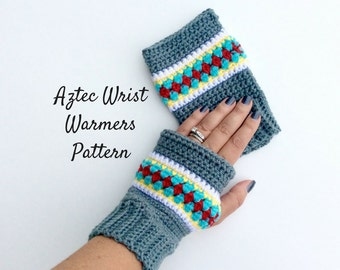 Aztec Wrist Warmers Intermediate Crochet Pattern and Photo Tutorial, UK and American Crochet Pattern