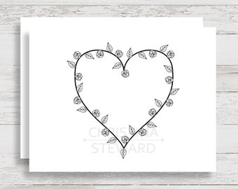 Printable greeting card with heart floral design, blank inside so you can write your own message, instant download note card