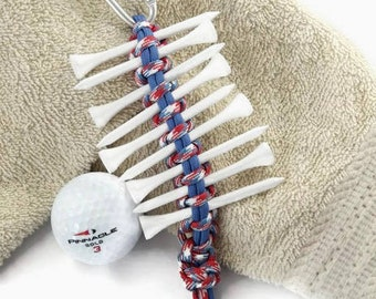 Golf Tee Holder, Golfing Gift, Golf Tee, Tee Holder, Golf Tee Organizer, Gift for Golfer, Golf Accessory, Red White Blue, USA Colors