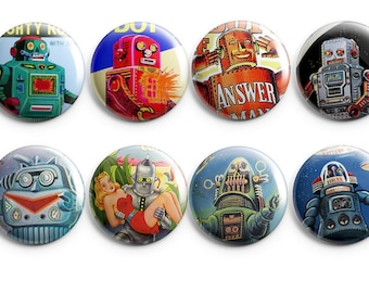 Vintage Robot buttons - Robot Valentine, robot party favors - 1950s robots, fifties buttons, robot badges, robot birthday party, flair
