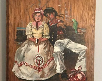 Vintage Original Oil Painting On Wood Sailor Flirting W Young Lady Artist Signed
