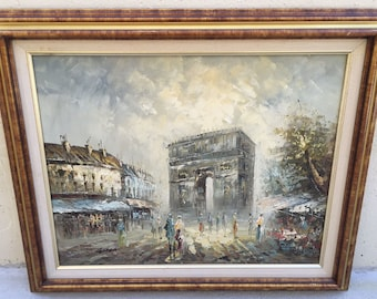 Vintage Parisian Street Scene Painting L'Arc de Triomphe France Oil on Canvas