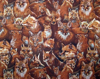 Fat Quarter Life Like Realistic Red Fox Allover in Red Brown and Silver Novelty Fabric - Quality Cotton Fabric - Hobby Lobby - OOP