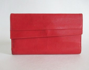 Tilley Red Leather Wallet Checkbook Pen Holder Zipper Kiss Clasp Made in Canada