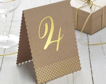 Table Numbers,, rustic feel,  Kraft & Gold Foiled Table numbers,  Rustic wedding, Country party, 1- 12