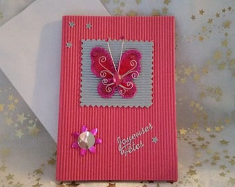 """Double pink corrugated card and sheet and envelope handmade """"Butterfly"""""""