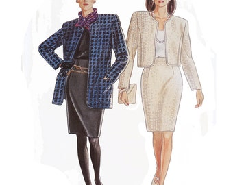 UNCUT Simplicity 7388, 1990s misses' unlined jacket & skirt pattern, size 8 to 20, jacket in two lengths, straight skirt