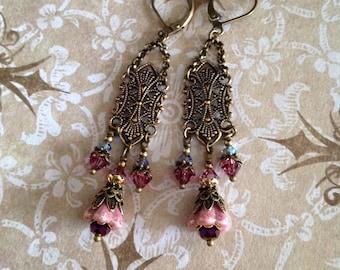 Victorian Crystal Chandelier Earrings, Rose Swarovski Chandelier Earrings, Long Ornate Victorian Filigree Crystal Flower Earrings CER-159