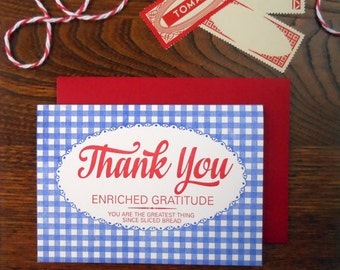 letterpress bread bag thank you greeting card pack of 6 blue gingham with red script type greatest thing since sliced bread