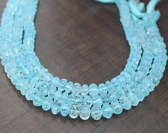 Christmas Sale AAA Sky Blue TOPAZ Beads 8-13 mm , Muskmelon beads, Faceted Beads Strands,Semi Precious Strands 19.25 inches, sold per STRAND