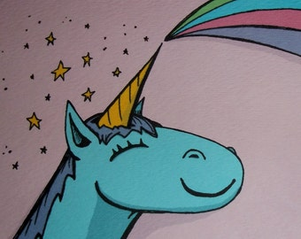 Happy Unicorn Blank Inside Perfect for Birthdays  5x7 Greeting Card by Agorables Rulers of Undead Rainbows