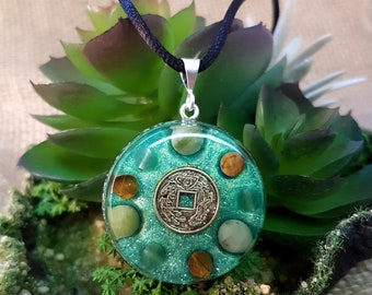 ABUNDANCE Orgone Pendant – Jade, Tiger's Eye and Aventurine Crystal Healing Pendant - Wealth, Money and Prosperity - Medium