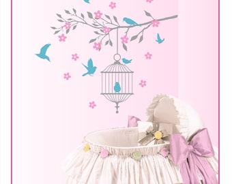 Baby Nursery Decal BIRDCAGE, Birds, Cherry Blossom Tree Branch Vinyl Wall Decal Set BT-103