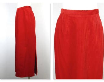 Vintage 60s Christmas Red Corduroy Maxi Skirt, Side Slit, Sz S / M