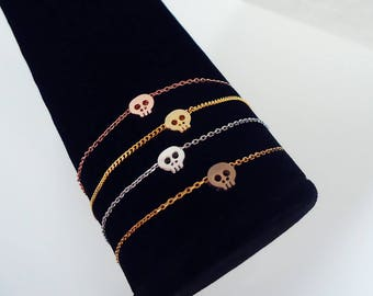 188. Cute, Skull Pendant Bracelet,Tiny Skull Bracelet, Dainty Layering Bracelet, Mini Skull Bracelet - choose your color and length.