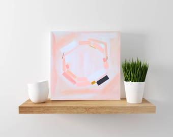 SALE: blush pink abstract painting - modern art - modern minimal art - wood canvas - abstract art