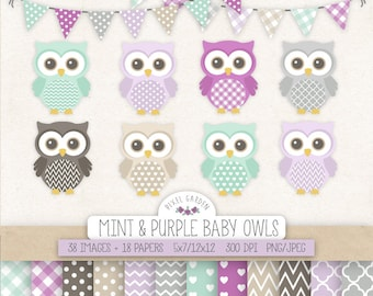 Owl Clipart. Baby Shower, Nursery Clip Art & Digital Paper. Mint, Purple, Gray, Lavender Backgrounds. Cute Baby Owls, Banners in Grey.