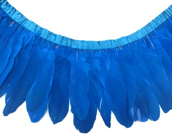 Goose Feather Trim, 1 Yard - BLUE Goose Nagoire and Satinettes Feather Trim : 3207