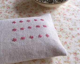 Rice Stitch Embroidered Lavender Eye Pillow, Pink