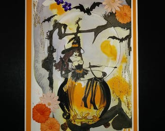 Halloween beautiful witch blank card cooking potion