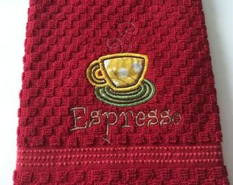 Decorative Kitchen towel, housewarming gifts, Espresso-Decorative Kitchen Towel, Kitchen Towel, Dish Towel