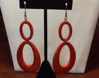 FREE SHIPPING, Orange acrylic earrings, Fun Earrings
