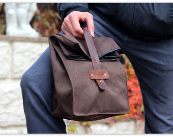 Waterproof Lunch Bag / Cognac Brown Lunch Tote - Gift  for Him/Her -Father's Day Gift