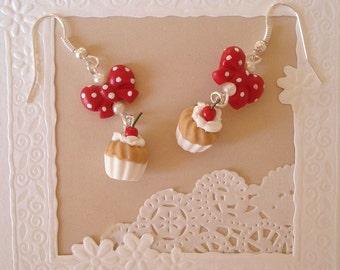 Cherry cupcake cake whipped stud earring
