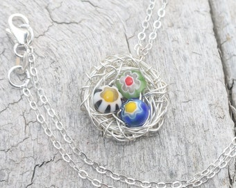 bird nest necklace ~ sterling silver ~ 3 multicolor beads