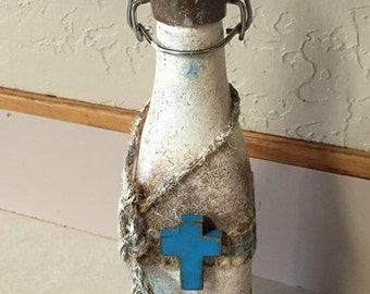 """11"""" Decorative Bottle, Christian Decorative bottle, Unique Rustic bottle, Hand painted, vintage bottle, Decorative Vintage Bottle"""