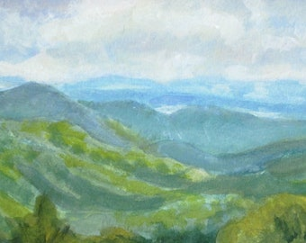 Blue Ridge Mountains Original Watercolor Painting