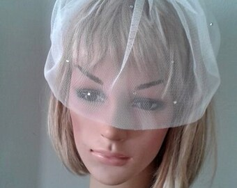 Bridal veil, Tulle Veil, Birdcage Veil, Wedding headpiece, Headband bridal