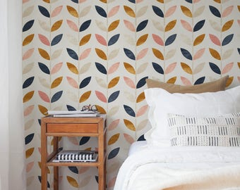 Scandinavian Style Pattern, Vintage Wallpaper, Self Adhesive Wall Mural, Wall Covering, Peel and Stick Wallpaper, Wallpaper Covering - A096