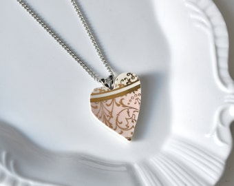 Recycled China Heart Pendant - Pink and Gold - Portion of Proceeds to American Heart Association