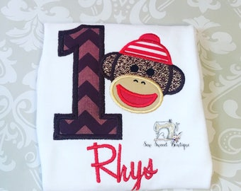 First birthday sock monkey, one, sock monkey tshirt, personlized monkey