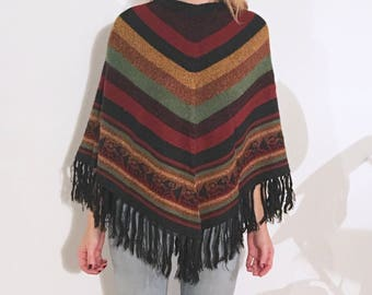 FLORAH Peruvian Poncho, Soft Material, Colorful Stripes, Authentic Market Buy (Cusco, Perú)