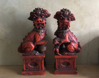 Pair of Gorgeous Vintage Porcelain Chinese Foo Dogs, guardian dogs, guardian lions,chinese dogs, chinese dragons,fierce dogs