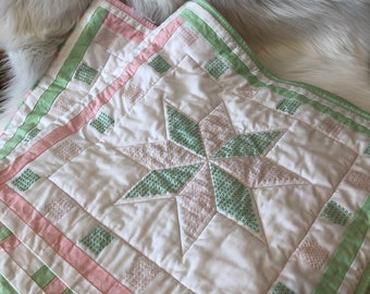 BABY CRIB QUILTS, pastel color quilts, girl quilt, embroidered quilts, baby girl bedding, handmade quilts