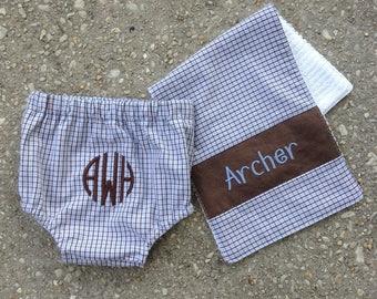 Diaper Cover & Burp Cloth set for HIM, baby shower, set ,infant, baby, FREE MONOGRAM, diaper pants, swim suit, toddler, swim pants covers
