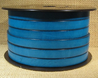 10mm Flat Leather - Teal - 10F-14 - Choose Your Length