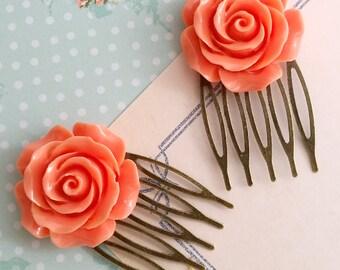 Orange Rose Hair Comb. Romantic Marmalade Orange Bloom Rose. Nature Inspired Wedding Bridal Rose Floral Elegant Hair Accessories