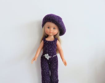 Jumpsuit and Corolle sweetheart doll beret knitting