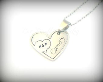Hand Stamped Heart Puzzle Necklace | Heart jewelry | Hand Stamped Jewelry | Hand Stamped Stainless Steel
