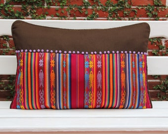 Burgandy wine and espresso Pillow sham with handwoven textiles, accents and cotton canvas