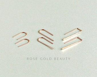 Rose Gold Earrings Set - Everyday Earrings - Staple Earrings - Minimalist Arc Earrings - Thin Line Earrings - Threader Earrings -Minimal Arc