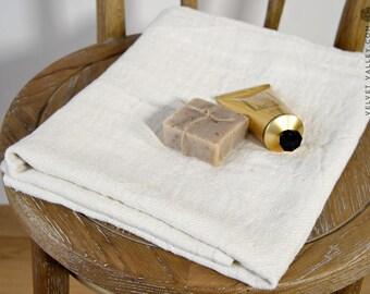 Linen light ivory white travel towel - light off white linen towel- softened linen travel towel- beach towel